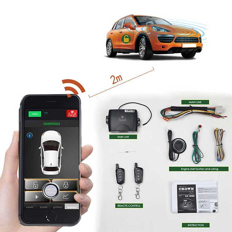 Keyless Entry Remote Start Car PKE Door Central Locking System 80-100M Car Alarm Remote Car Engine S