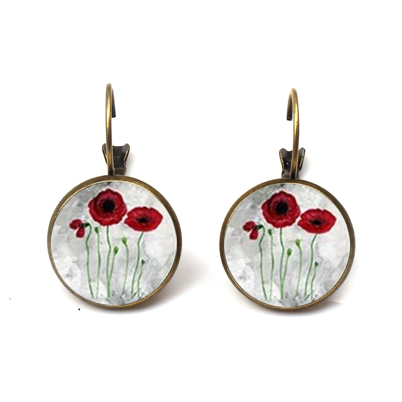 New Red Poppy Art Earrings Handmade Round Glass Dome Field Of Poppies Flower Stud Earrings Brincos Vintage Jewelry  Wholesale