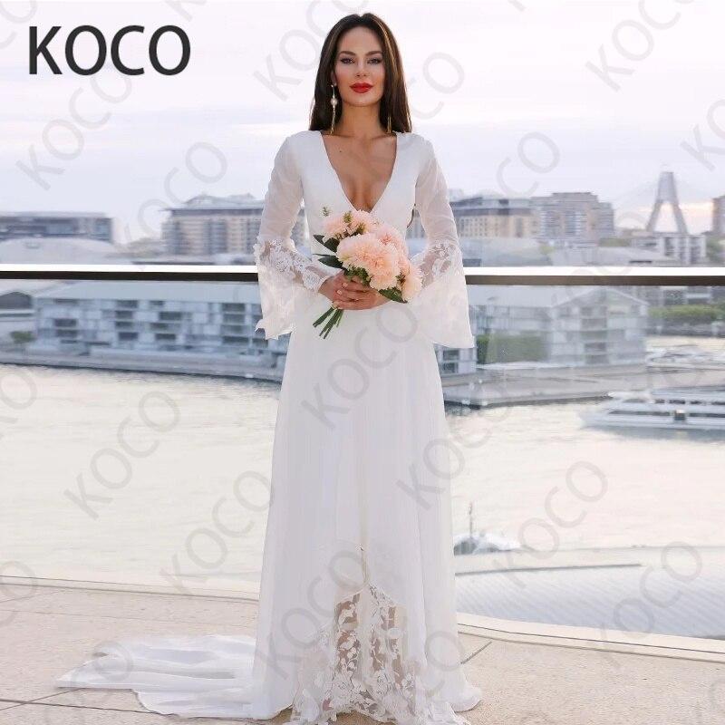 MACDUGAL-Vestido De Novia De gasa con cuello De pico profundo, elegante, sencillo, para playa, manga larga, falda De Novia Civil, 2021