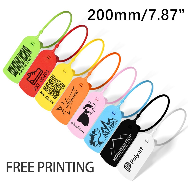 100 Custom Clothing Hang Tags Personalized Plastic Security Print Garment Shoe Clothes Product Logo Gift Tag Label 200mm/7.8