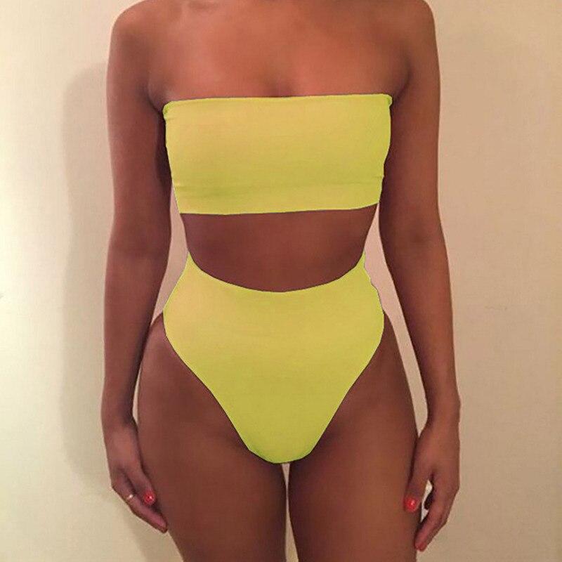 Sexy Swimsuit Lady Tube Top Women Bikini Set Women Solid Color Bikini Swimwear Push Up Swimsuit Beachwear Swimwear