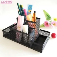 hot black metal mesh box pen pencils holder case desk stationery storage organizer home office useful save space 1pc