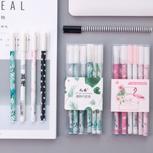 3/6 pcs flamant rose stylos pour école cactus stylo chancelière gel stylo kawaii fournitures scolaires mignon papeterie gel stylos papelaria 40101