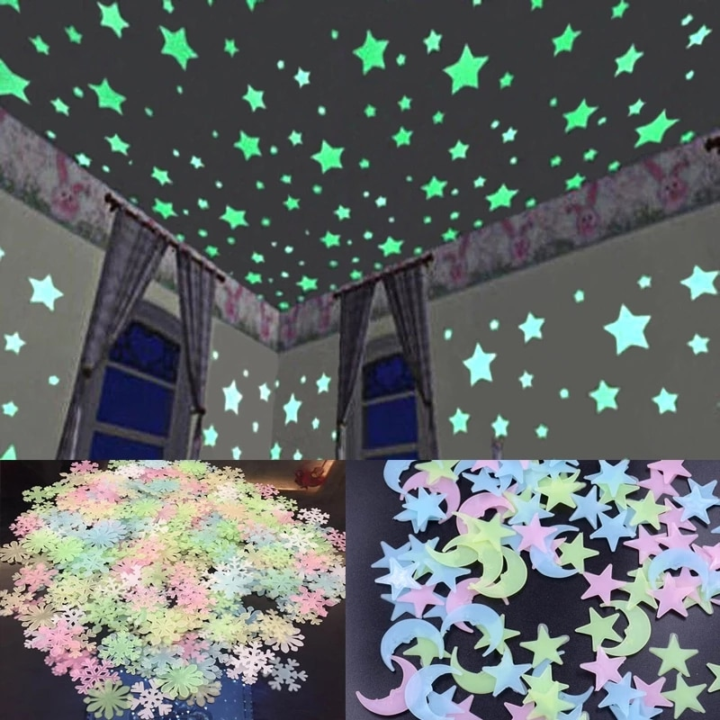 3D Star and Moon Wall Stickers Energy Storage Fluorescent Glow In The Dark Luminous For Kids Bedroom