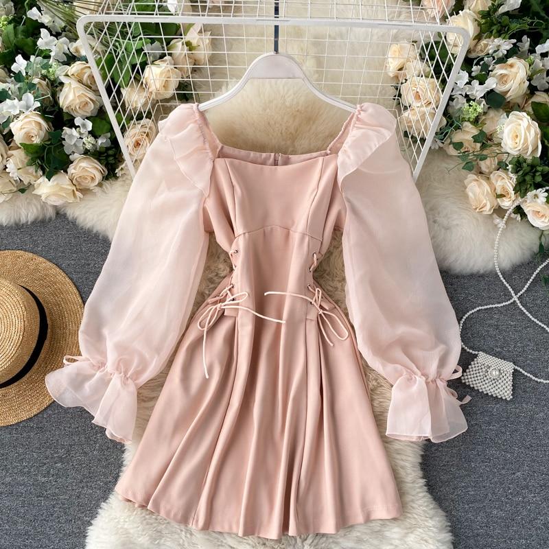 Женское винтажное короткое платье с квадратным вырезом, Сетчатое платье-трапеция мини с пышными рукавами, с завязкой, с узкой талией, для клуба, для лета