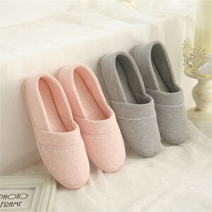 Comfortable Cotton Fabric Indoor Shoes Woman Home Slippers Soft Sole Anti-slip Confinement Shoes Ladies House Floor Slides DX427