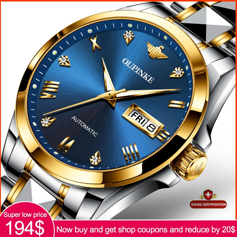 Men's Watches OUPINKE Top Brand Watches Stainless Steel Mechanical Fully Automatic Watches Business Watches Mechanical Watches фото