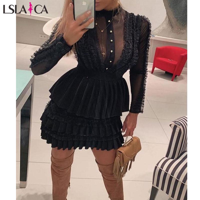 Stylish Women Dress Black Long Sleeve Mesh Sexy Lace Ladies Mini Dress Autumn Evening Party Female