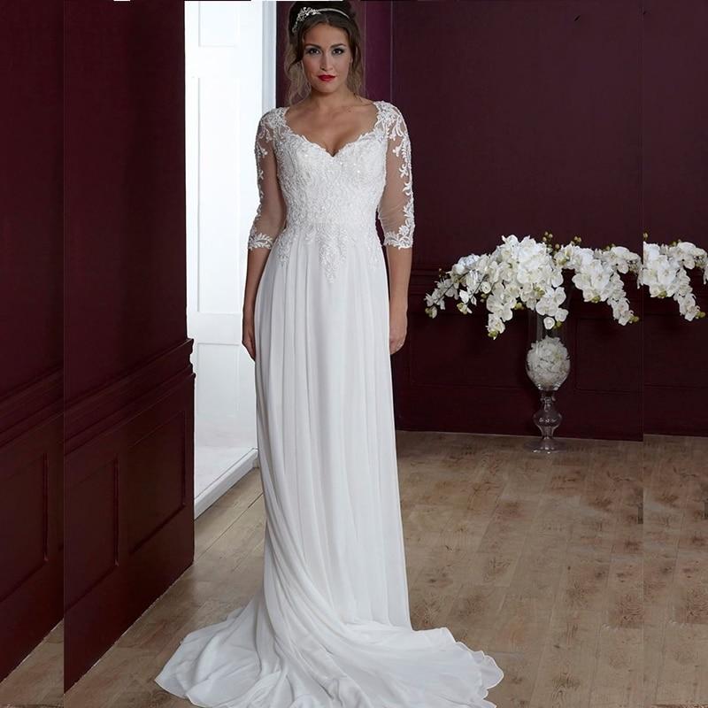 Get A-Line Wedding Dress 2021 Boho Simple Beach Lace Appliques Bridal Gown Court Train Robe De Mariee Bohemian Civil Vintage Cheap