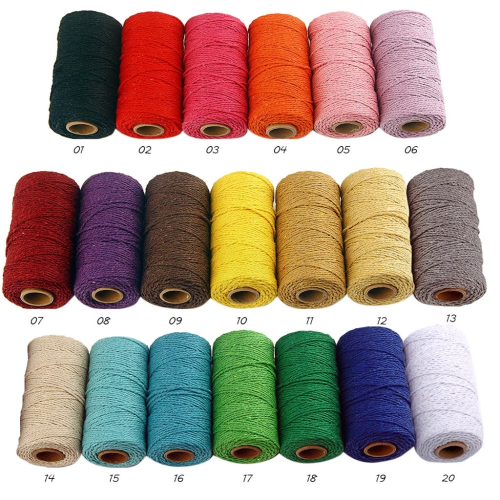 Rope Twisted-Cord 100% Cotton rope colorful twine macrame cord string thread for party wedding decor
