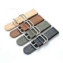 Onthelevel Zulu Strap 18mm 20mm 22mm 24mm Nato armband Uhr Band Mit Drei Ringe Schwarz Braun gelb Leder Armband # D