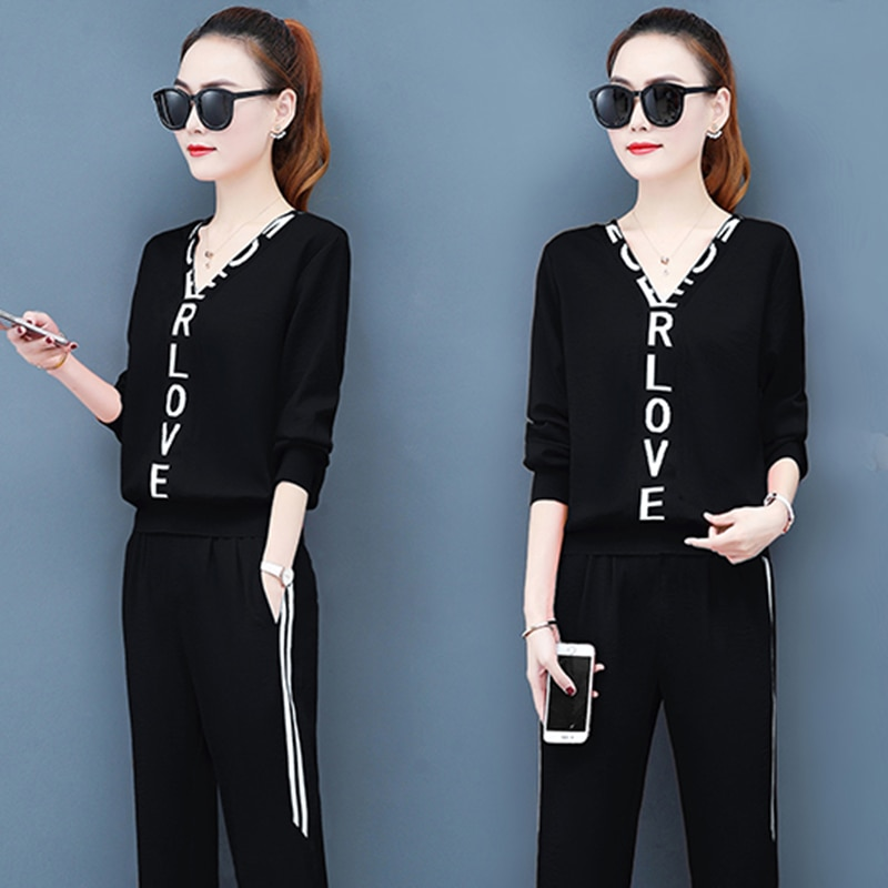 AliExpress - Fall 2020 Two Piece Set Top And Pants Suit Outfits For Women Tracksuit Lounge Wear Korean Fashion Plus Size Clothing 2 Piece Set