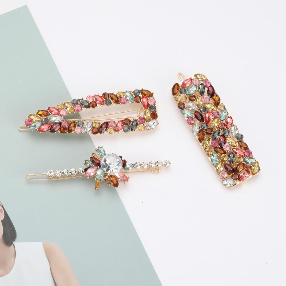 3pcs/set Women Hair Pins Alloy Colorful Rhinestone Flower Geometric Clip Hairpins Korea Chic Accessories Hairgrip