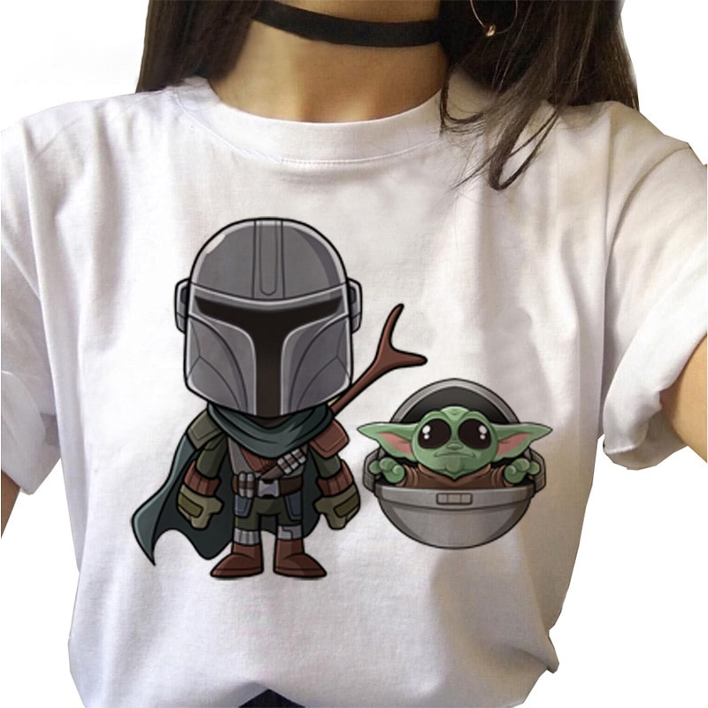 Baby Yoda Mandalorian camiseta mujer estampado de dibujos animados Casual Harajuku verano señoras Top Thin section Tees ropa