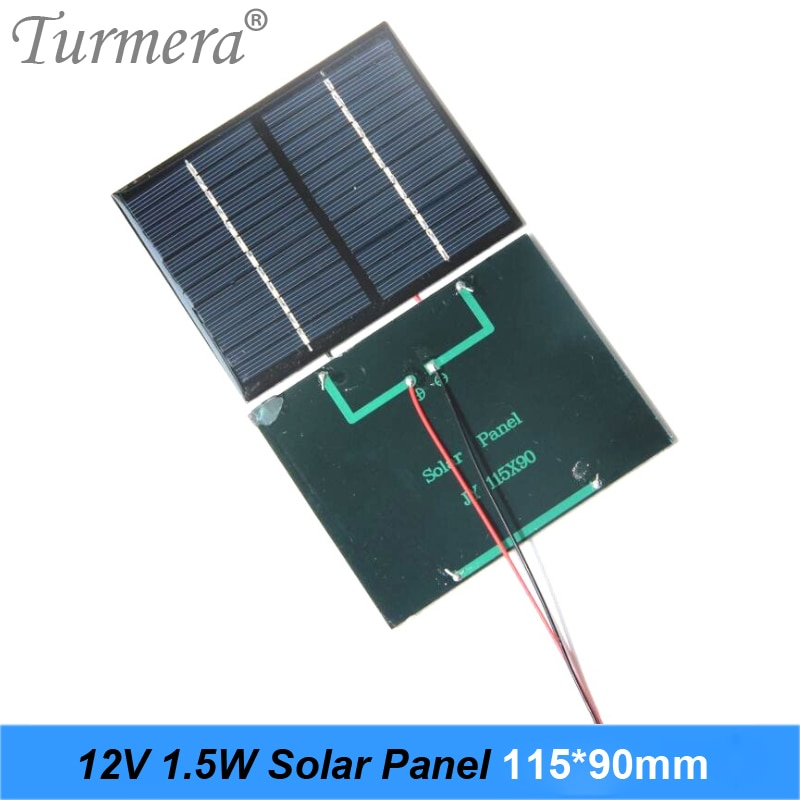 12V 1.5W Solar Panel 115x90mm Portable Mini Power System Charging for Lamp,DIY Batteries Cell Phone and Electric Toy Use Turmera