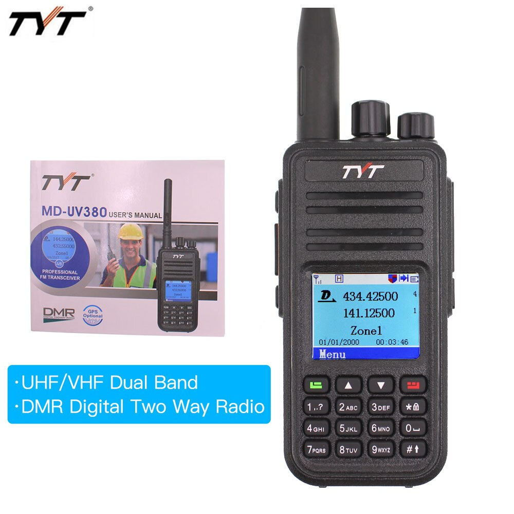 Pantalla Dual color walkie talkie sobre las MD-UV380 radio de banda dual VHF + digital UHF DMR radios de dos vías MDUV380 ranura de tiempo dual transcei
