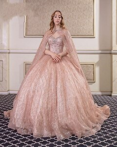 2020 Champagne Paillette Evening Clothes With Pearls Sleeves Ballgown Sweet 16-piece Vestidos De 15-year-old Quinceanera