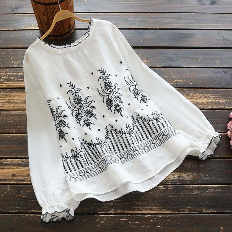ZANZEA-blusa bordada para mujer, camisas de primavera 2020 informales de manga larga, Tops con volantes, 5XL túnica, Blusas de cuello redondo para mujer de talla grande