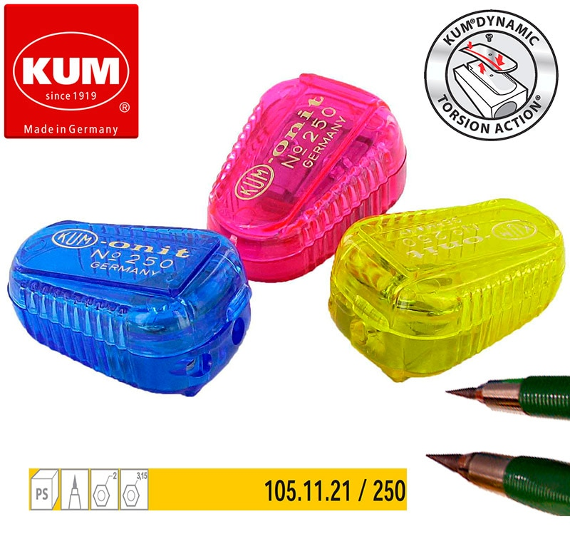 1pc alemanha kum 250 lápis automático 2 buraco apontador para 0.9 / 1.4 / 2.0 / 3.15mm fino chumbo faca núcleo moedor mini faca