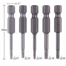 5pcs S2 Alloy Steel Triangular Screw Bits Magnetic Screwdriver Bit Anti Slip Triangle Screw Head 1.8/2/2.3/2.7/3 mm Dropshipping