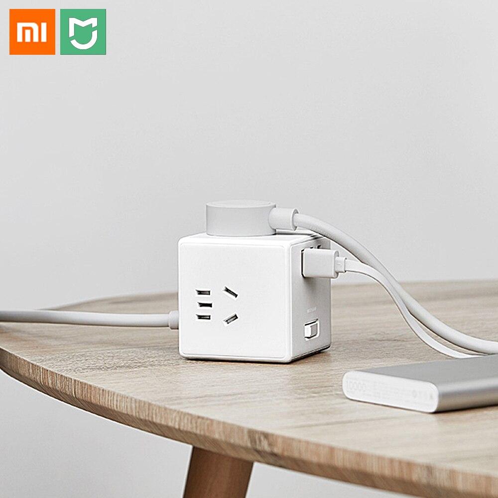 Xiaomi Mijia portátil cubo mágico convertidor 3USB 5V 2.1A cargador 6 puertos enchufe eléctrico adaptador de viaje protección de seguridad