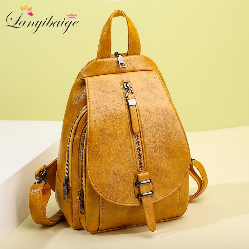 2020 New Women Backpack High Quality Oil Wax Leather Backpack Chest Bag Fashion Travel Backpack Daily Bag Backbag Mochila Sac