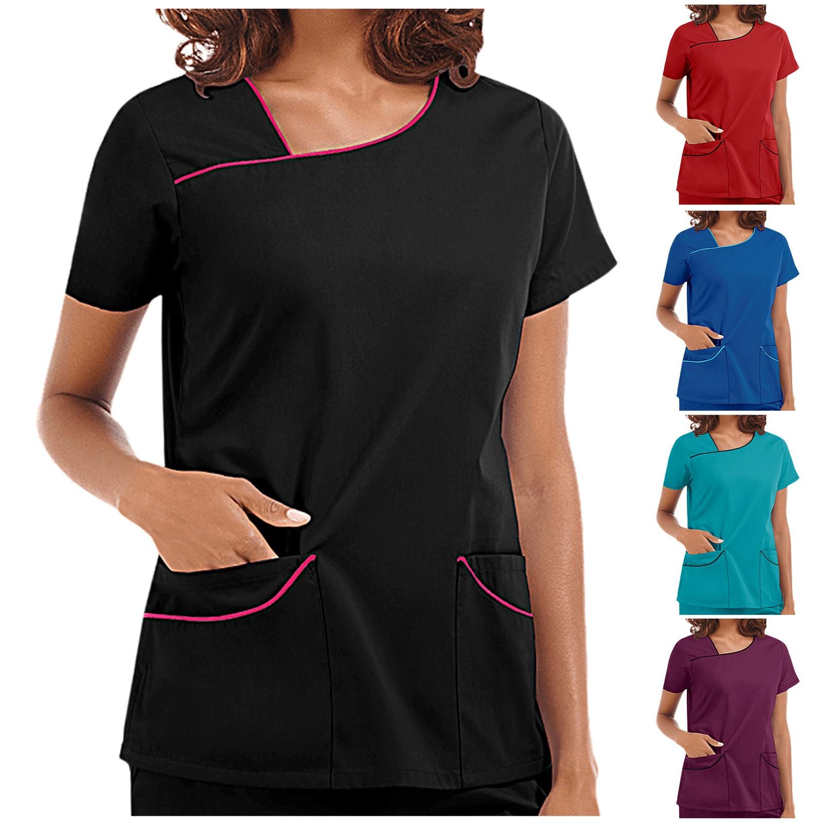 Working Nurse Uniform Solid Color short Sleeve V-neck Pocket Blouse Tops Scrubs Women Breathable Pharmacy Nursing Uniform pharmacy