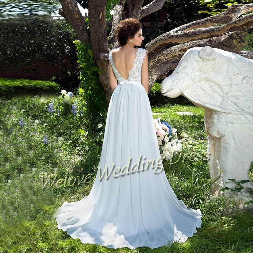 Simple Bridal Dresses 2021 White Chiffon Backless Sweep Train Wedding Gown O Neck With Applique Floor Length Elegant Bride