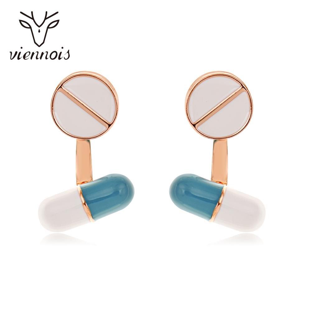 Pendientes de broche acrílico Viennois irregulares con forma de píldora para mujeres, pendientes de moda coreanos de oro rosa
