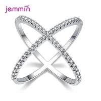 s925 silver jewelry x crossing finger ring female fashion micro paved cz crystal rings infinity sign women silver rings party