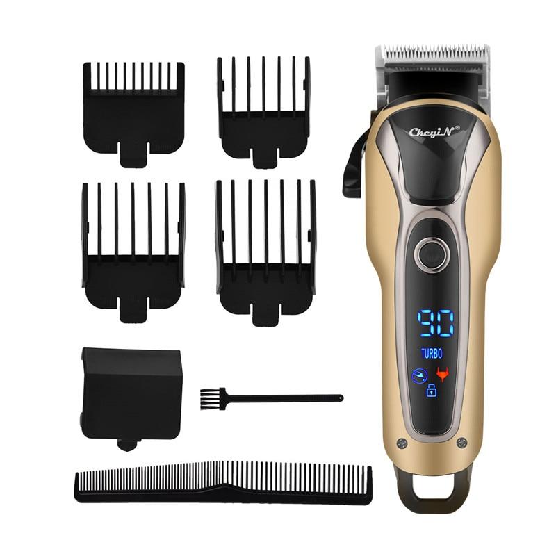 lamina de aco inoxidavel recarregavel corte cabelo aparador lcd barbeiro maquina