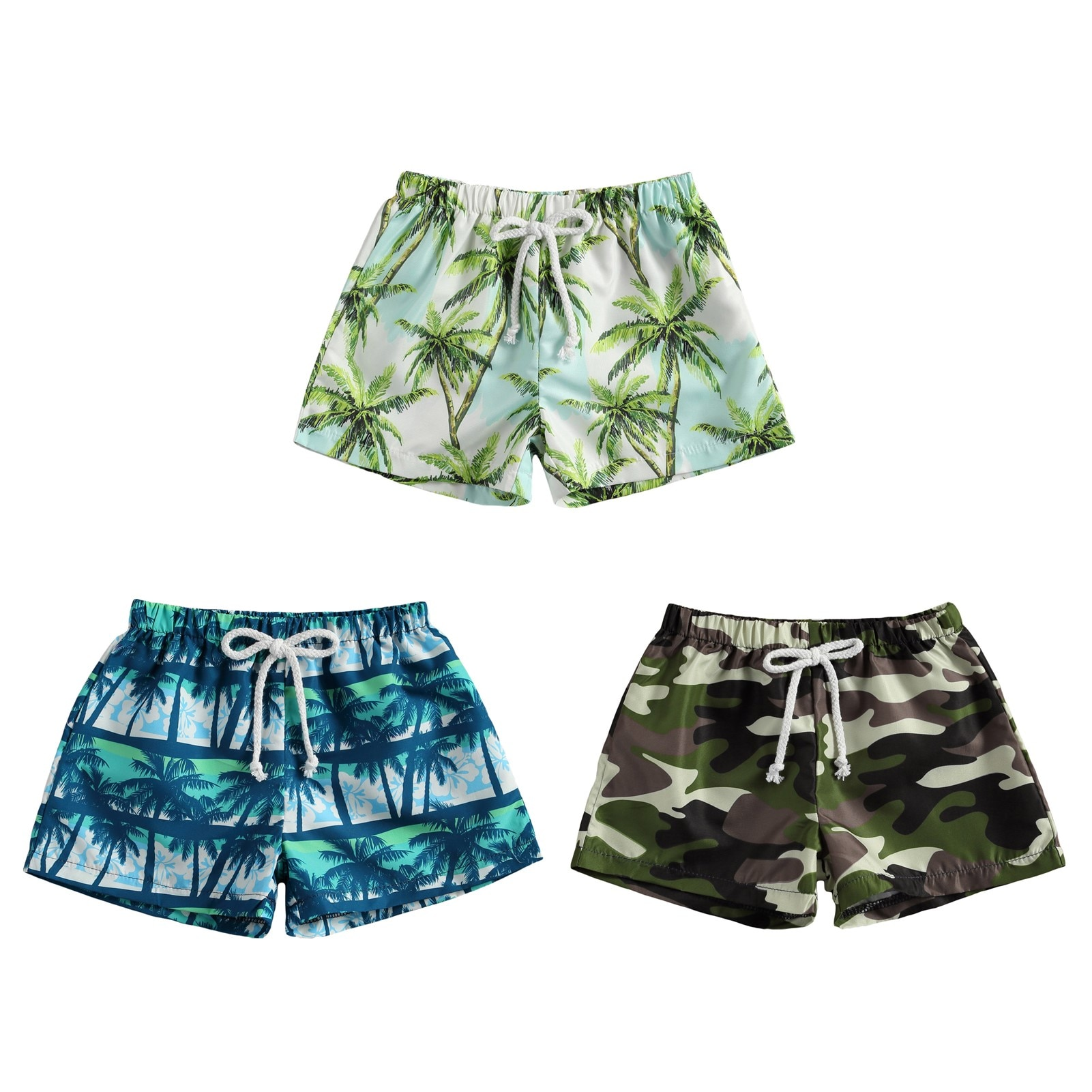 2020 New 1-5Y Toddler Kid Baby Boy Swimwear Camouflage/Palm Tree Print Board Shorts Drawstring Beach