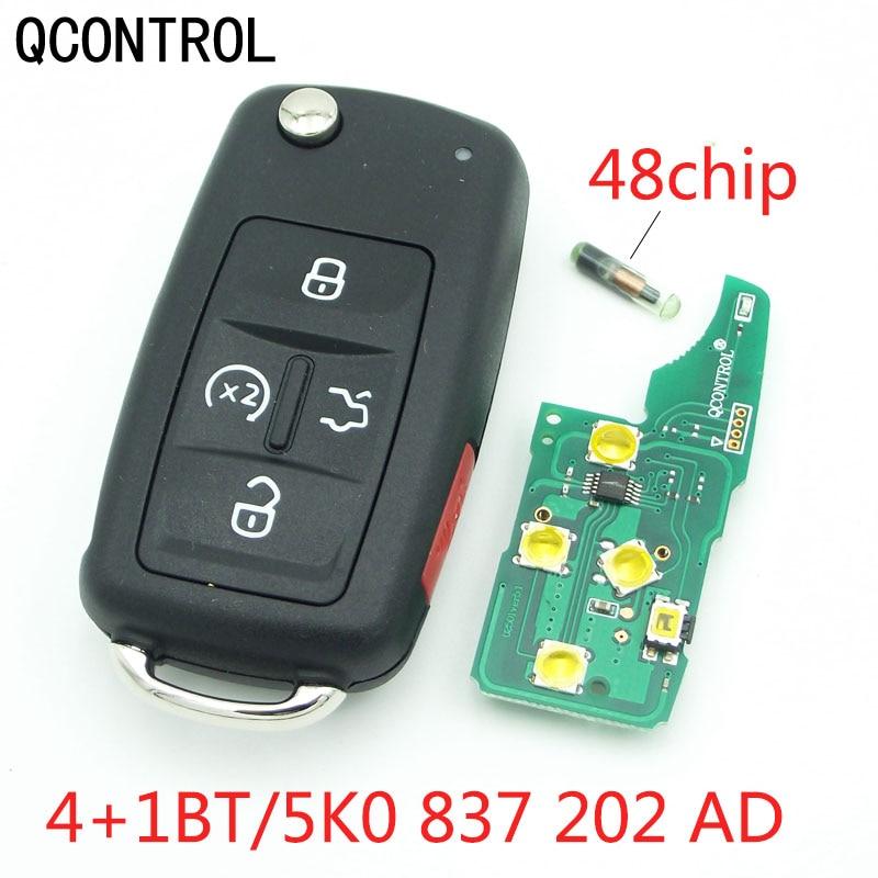 QCONTROL 4 + 1 BT, llave a distancia para coche, 433 MHz, para VW Sharan Multivan, llave de coche, reemplazo de Control remoto 5K0 837 202 AD