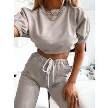 Pantalones Casual para mujer, camiseta + Pantalones Harem, traje para mujer, 2 uds, ropa de calle, chándal de Fitness, conjunto de chándal de dos piezas
