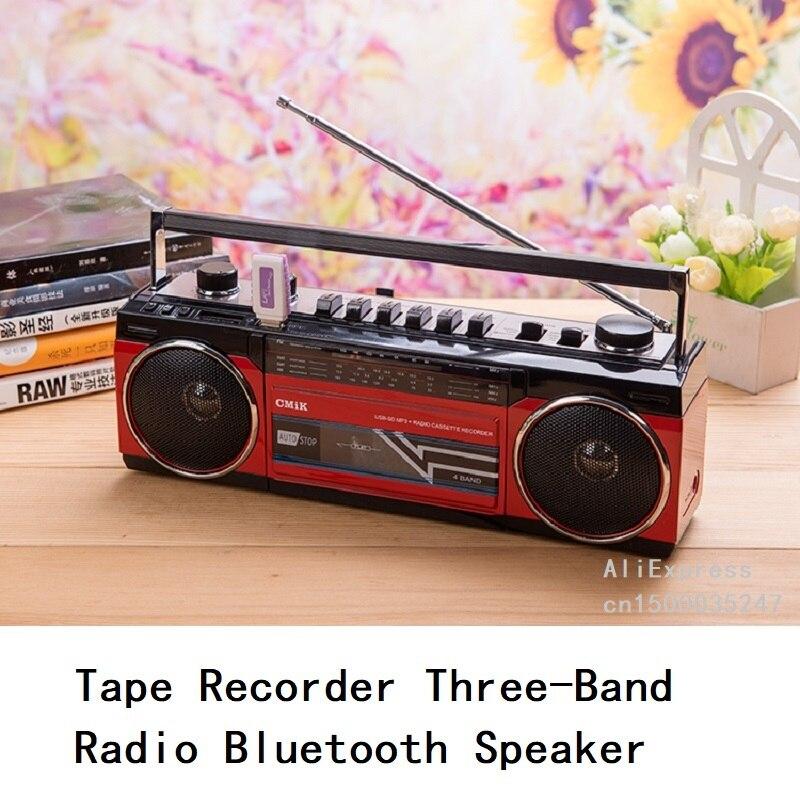 Grabadora de cinta de Radio de cuatro bandas reproducción de tarjeta SD en U disco con altavoz estéreo Bluetooth dos enchufes de jardín línea de alimentación