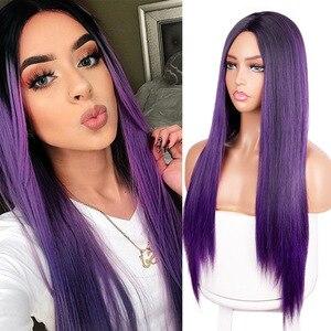 DAN BO Women's Purple Black Gradient Long Straight Hair High Temperature Daily Wig