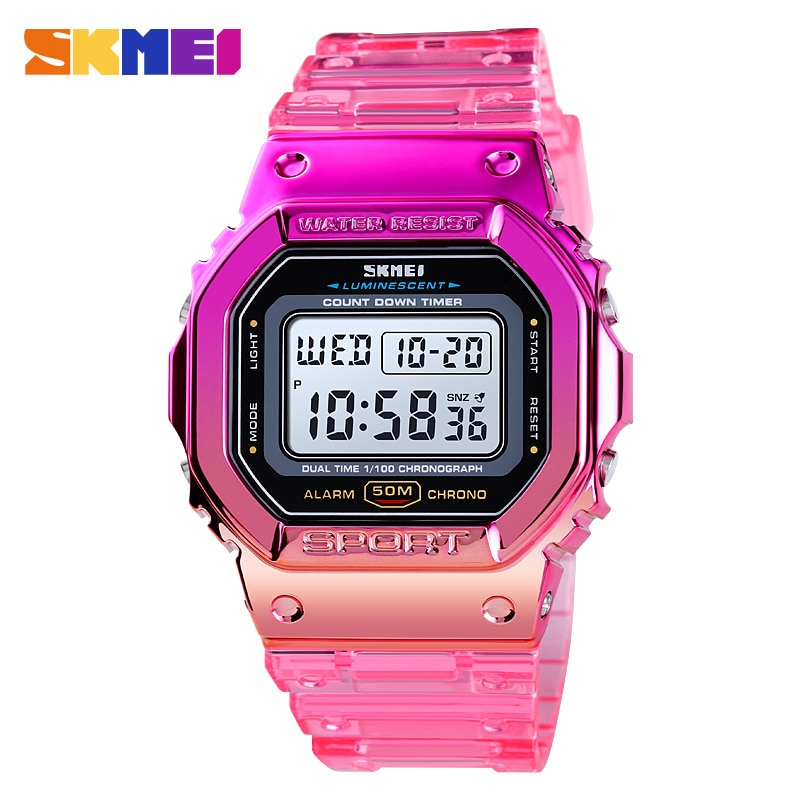 SKMEI Sport Cool Watches For Girls Fashion Transparent Strap Women's Watches Shock Resistance Laides Wristwatch Electronic Clock