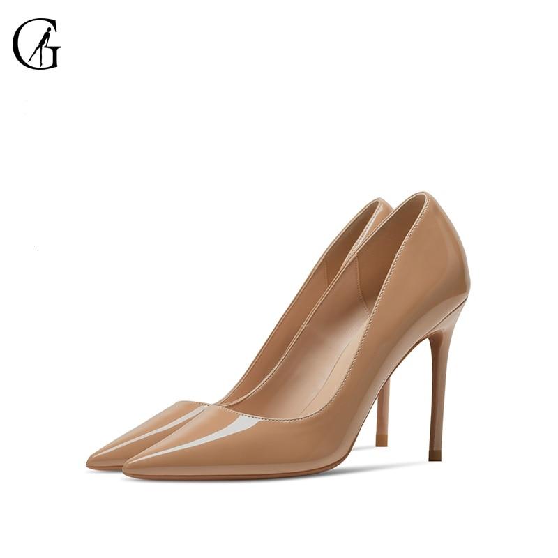 GOXEOU-حذاء بكعب عالٍ من الجلد اللامع للنساء ، أحذية حفلات ، لون اللحم ، أسود ، أحمر ، أبيض ، مقاس 32-46