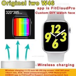 Original iwo w46 relógio inteligente 2020 de carregamento sem fio ecg freqüência cardíaca temperatura do corpo ip68 à prova dip68 água iwo w26 atualizar smartwatch
