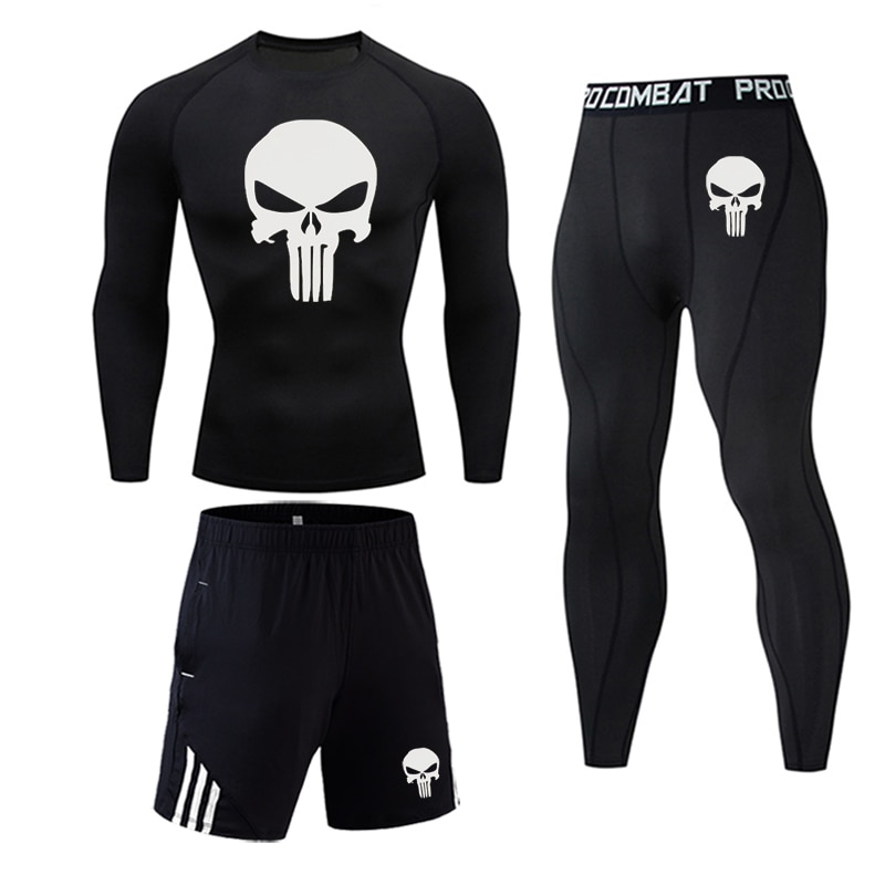 Men's Thermal underwear Set MMA Tactics Fitness leggings base skull Compression Sports underwear lon
