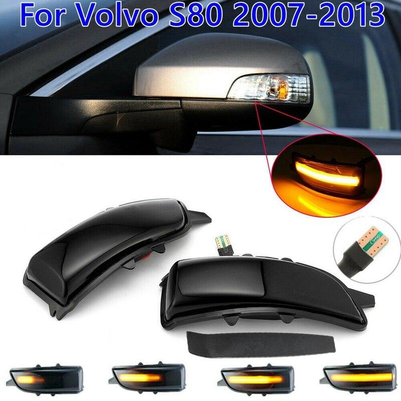 LED ديناميكية بدوره ضوء مؤشر الإشارة مصباح أضواء مرآة الرؤية الخلفية الجانبية ل فولفو S40 S60 S80 C30 C70 V50 V70 2007-2013