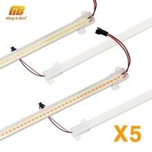 Barra de luz LED de esquina de pared de 5 uds 72LEDs de alto brillo tira LED carcasa transparente blanca lechosa 30cm 50cm iluminación LED para Cocina