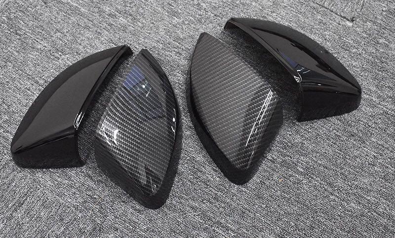 Funda de espejo de fibra de carbono negra brillante hidrosumergida Para A3 8V 2014-