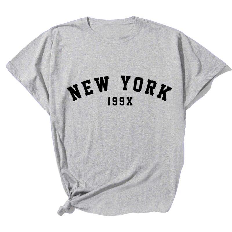 Camiseta con estampado de letras de Nueva YORK para Mujer, blusa holgada...