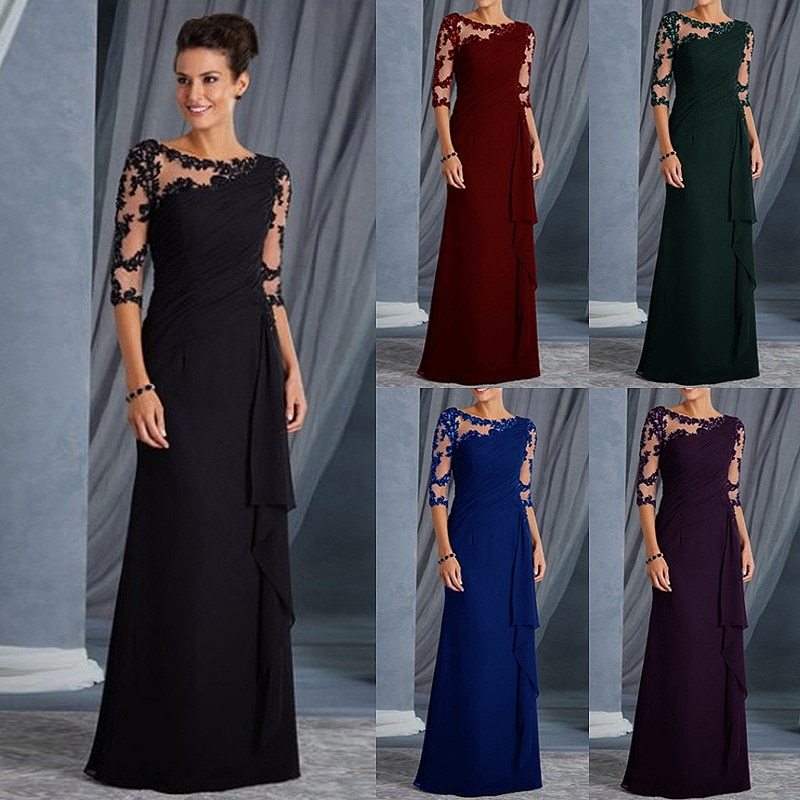 plus size green 2018 mother of the bride dresses a line 3 4 sleeves chiffon lace wedding party dress mother dresses for wedding 2020 Black Mother Of The Bride Dresses With 3/4 Sleeves Appliques Chiffon Mother Evening Dresses For Wedding Party Guest Dresses