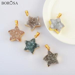 18K Gold Color Star Natural Agates Druzy Pendant for Necklace, New 18inch Natural Druzy Pendant Necklace Gold Necklace G2023