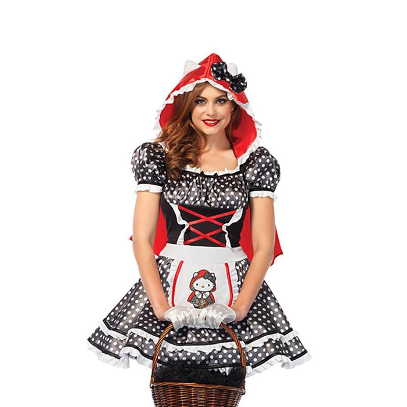 Mulheres Little Red Riding Hood Costume Adult Halloween Cosplay Vestido Cosplay Conto de Fadas Fantasia Terno