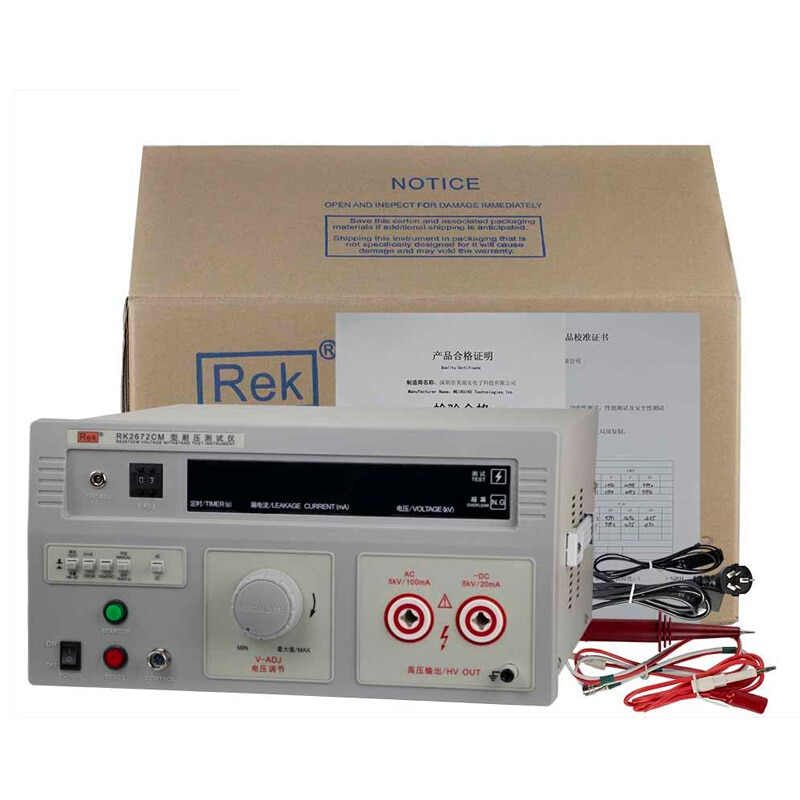 Testador de Pressão Proteção de Quebra 20ma 5kv Tensão Tester Hipot 0 55kv – Rek Rk2672cm ac 100ma dc