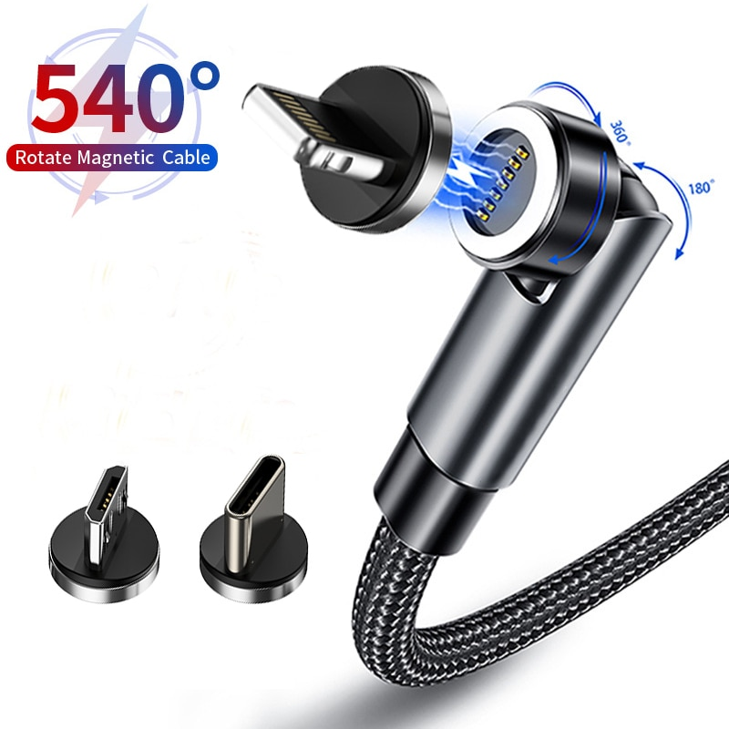 Baseus-Cable magnético giratorio para teléfono móvil, cargador magnético de carga rápida, USB...