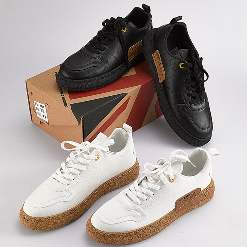 2021 New Men Vulcanized Shoes Leather Sneakers Trend White Casual Shoe Italian Breathable Leisure Male